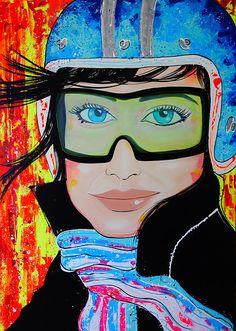 Deise Linhares Pinturas & Artes motoqueira #art #colors