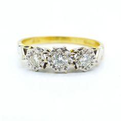 Vintage diamond trilogy engagement ring 1960's 18ct-18k 3 stone Antique English mid century stacking ring