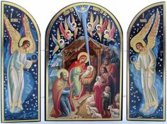 Wood Christmas Triptych - Russian Nativity Set Scene - Icon of the Infant Jesus Religious Gifts, Religious Art, Catholic Art, Christmas Icons, Christmas Angels, Papercraft Anime, Meaningful Christmas Gifts, Orthodox Icons, Baby Jesus
