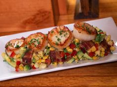Seared Scallops with a Corn, Bacon and Avocado Relish recipe via Food Network - portions are way off. Only need 2 ears of corn, a onion, and 6 strips of bacon Seafood Dishes, Seafood Recipes, Dinner Recipes, Fish Dishes, Tasty Dishes, Food Network Recipes, Cooking Recipes, Healthy Recipes, Healthy Dinners