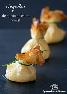 Las recetas de Masero.: Saquitos de queso de cabra y miel Mini Appetizers, Canapes, Pasta Filo, Kids Meals, Finger Foods, Brunch, Meat Recipes, Cooking Recipes, Good Food