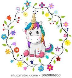 Cartoon Unicorn in a flowers frame. Cute Cartoon Unicorn in a flowers frame on a white background stock illustration Unicorn Drawing, Cartoon Unicorn, Unicorn Art, Unicorn Decor, Unicorn Bedroom, Funny Unicorn, Cartoon Mignon, Unicornios Wallpaper, Unicorn Pictures