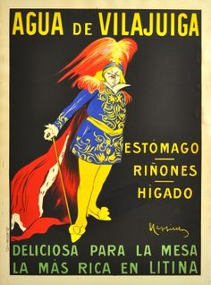 Mineral Water of Vilajuiga Cappiello, 1912 - original antique drink advertising poster by Leonetto Cappiello listed on AntikBar.co.uk
