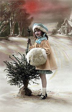 Vintage Postcard ~ Little Girl w/Muff