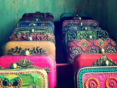 Embellished and embroidered clutches by Karieshma Sarnaa on Indianroots.com