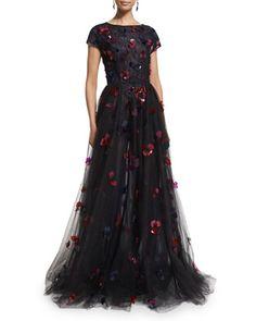 Short-Sleeve Floral-Embellished Tulle Ball Gown, Black/Ruby/Navy by Oscar de la Renta at Bergdorf Goodman.