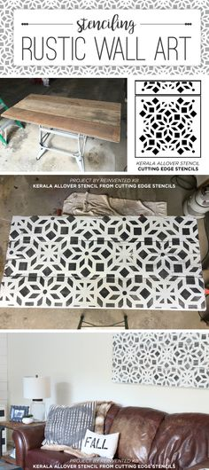 Cutting Edge Stencils shares how to stencil on wood to create rustic farmhouse wall art using the Kerala Allover Stencil. http://www.cuttingedgestencils.com/kerala-indian-stencil-geometric-pattern-stencils.html