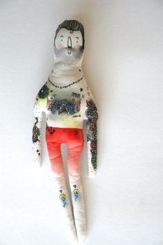 Adam the Illustrated Man Handmade Doll by BlueRaspberryDesigns, $50.00