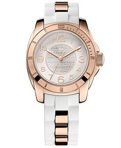 Tommy Hilfiger Watch, Women's Sport Rose Gold-Tone Stainless Steel and White Silicone Strap 38mm 1781305