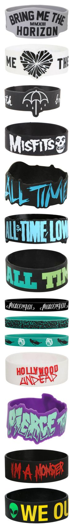 """BAND BRACLETS"" by chemicalfallout249 ❤ liked on Polyvore featuring jewelry, bracelets, rubber bracelets, accessories, bands, rubber bangles, rubber jewelry, hot topic jewelry, grey jewelry and hot topic"