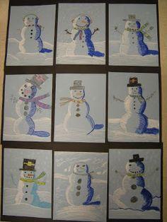Artolazzi: Snowmen at Night Christmas Art Projects, Winter Art Projects, Art Lessons For Kids, Art Lessons Elementary, Snowmen At Night, Third Grade Art, Atelier D Art, Ecole Art, Art Lesson Plans