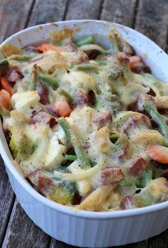 Pølsegrateng med pasta og grønnsaker, 4 porsjoner 500-600 g pølser i biter* 200 g pasta (eg brukte glutenfri pennepasta, bruk gjerne fullkornspasta) 1/2 brokkoli 1/2 blomkål 2 gulerøtter 150 aspargesbønner (kan sløyfes) 1 beger, 300 g creme fraiche 1,5 dl melk eller fløte revet eller skiva ost salt og pepper. HELT GREIT. IKKE EN FAVORITT HOS DEN YNGSTE JENTA