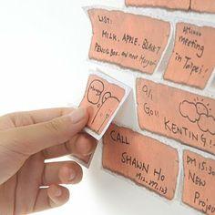 brick wall post-it notes