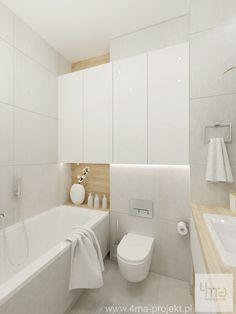 Mieszkanie na Bielanach | 4ma projekt | Architekt, projektant, projektowanie wnętrz Warszawa Small Space Bathroom, Family Bathroom, Bathroom Kids, Modern Bathroom Design, Bathroom Interior Design, Bathroom Designs, Small Spaces, Bedroom Bed Design, Home Room Design