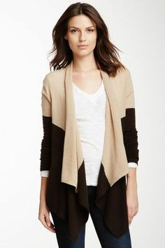 Magaschoni Two-Tone Cashmere Cascade Cardigan
