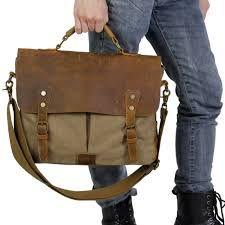 Buy Kattee Men s Crazy Horse Leather Satchel School Military Shoulder  Messenger Bag at online store f580dac699