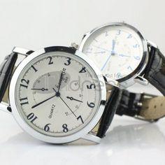 Preto ponteiro padrão cinto relógio