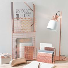 Home Design Ideas: Home Decorating Ideas Bedroom Home Decorating Ideas Bedroom Metal letter holder copper color . Rose Gold Rooms, Rose Gold Decor, Grey Rose Gold Bedroom, Rose Gold Lamp, Gray Bedroom, Uni Room, Home Office Decor, Home Decor, Office Ideas