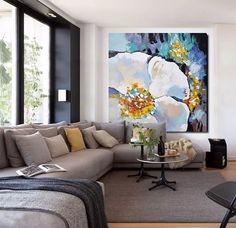 cuadros modernos 100x100 abstractos flores tripticos