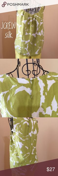 """LIME&CREAM 100% SILK Sassy Lime green and Cream JCREW top. Pit to Pit 17.5"""".  Length 23.5 fully lined in cotton. 100% Silk. So cool, fun and comfortable, for a warm summer evening or lunch with your BFF's . Make me an offer girlfriend 😘😘 J. Crew Tops"""