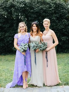 pretty mixed matched bridesmaids dresses
