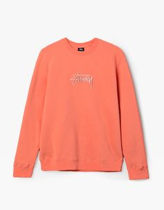 Stussy Stock applique crewneck sweater coral