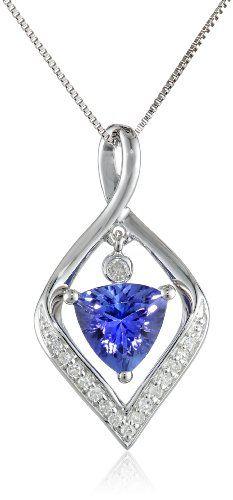 "14k White Gold Tanzanite and Diamond Pendant Necklace, 18""   stylexotic.com"
