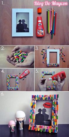 Ideia genial! Broken Crayons, Photo Frames Diy, Photo Frame Ideas, Colorful Picture Frames, Foto Kids, Popsicle Stick Art, Family Clothes, Craft Art, Diy Art