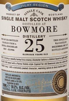 Douglas Laing's Old Particular Bowmore 25 year old label. Label Design, Packaging Design, Graphic Design, Gin Brands, Photoshop, Vintage Packaging, Japan Design, Typography, Lettering