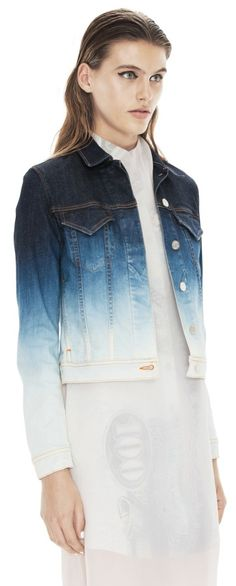 Degraded (dip bleached?) denim jacket by Acne - inspires me to try to do it to one of mine, or maybe I just need to get one of these!!! (^^)  Would look great under a trench or tailored jacket, too!