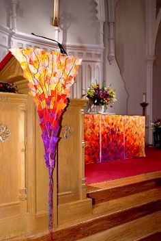 """Celebration"" to celebrate Easter.  Communion Table Triptych, Pulpit Piece and Stole.  by Karen Eckmeier.  Bedford Presbyterian Church, Bedford, NY"
