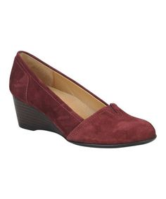 Take a look at this Crimson Suede Marsha Wedge by Softspots on #zulily today!