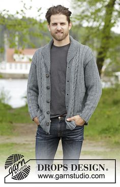 Knitted DROPS men's jacket with simple cable, textured pattern and shawl collar in Karisma. Size: XS - XXXL.