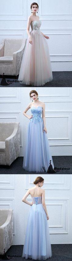 Cute Applique Long Prom Dress Sweetheart Evening Dress Tulle Formal Dress,HS504 #fashion#promdress#eveningdress#promgowns#cocktaildress