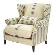 I pinned this Napoleon Half Wingback Chair in Blue Stripe from the Chic Vanity event at Joss and Main!