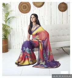 We are offering a tri color printed georgette saree, the colors it have are yellow purple and red. The saree is an exclusive print for all the vibrant females who loves to go out and party. We offer this saree with a unstitched matching blouse.