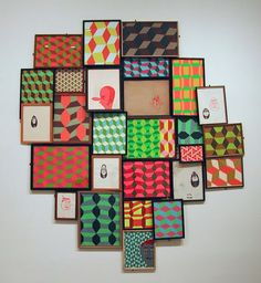 Barry McGee, could get this same effect framing wallpaper, or fabric scraps