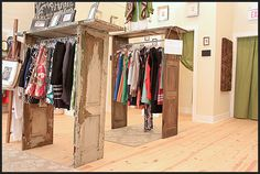 Creative shabby chic way to hang inventory.
