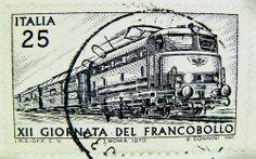 stamp Italy timbre Italie 25 Lire postage train railway railroad selo sello Italia francobolli почтовая марка Италия pullar İtalya 邮票 义大利 Briefmarken Italien Giornata del francobollo
