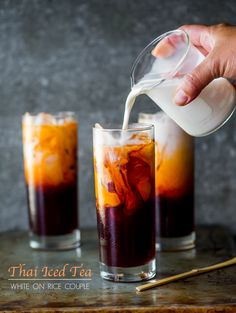 Because I have a strange addiction to Thai Tea. Easy Thai Tea Recipe (Thai Iced Tea) from White On Rice Couple Read Recipe by Thai Tea Recipes, Iced Tea Recipes, Cocktail Recipes, Thai Curry Recipes, Coffee Recipes, Drink Recipes, Salad Recipes, Summer Drinks, Fun Drinks