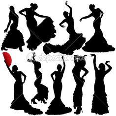 siluetas flamenco y salsa
