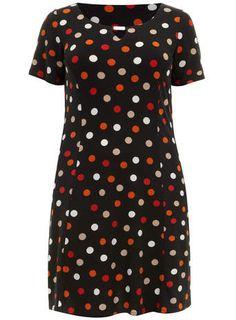Evans Black Spot Print Skater Dress