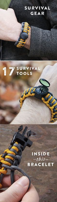 Any emergency tool you could need is woven into these survival bracelets. Unravel the paracord to access them—and to save the day.