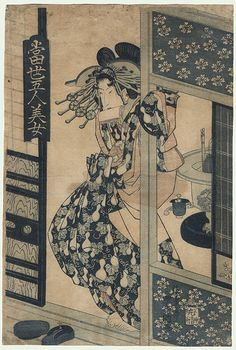 Original Toyokuni (1769 - 1825) Japanese Woodblock Print  Courtesan in a Doorway