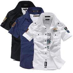 2018 NEW short sleeve shirts Fashion airforce uniform military short s – dresslliy