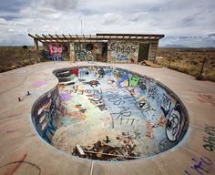 Abandoned campground pool on interstate 40 in Arizona.