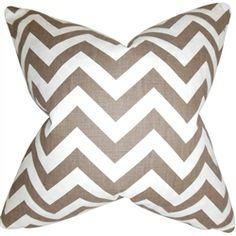 Chic and hip, this accent pillow makes a great statement piece to your interiors. This throw pillow features a zigzag pattern in shades of brown and white. Toss this playful statement piece to your living room or bedroom. Made of 100% soft cotton fabric and crafted in the USA. $55.00  #zigzag  #tosspillow  #pillows  #homedecor  #interiorstyling