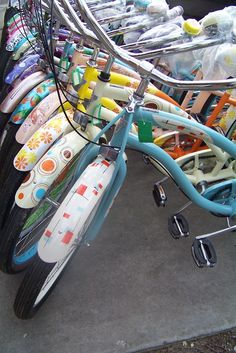 candy-colored beach cruisers - I can't wait until I get mine fixed up!
