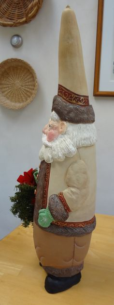 Gourd with PaperClay Santa