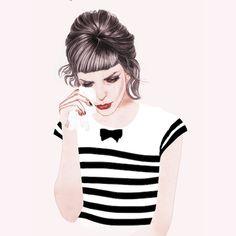 Girl with a grey hairdo drinking fresh tears on a handkerchief. Sad but stylish!